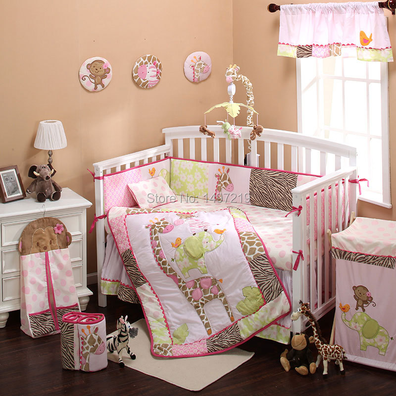 pink embroidery animal kingdom baby cot bed lien set 12-piece PH232<br><br>Aliexpress