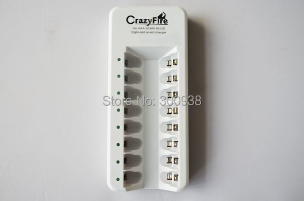 Free Shipping For AA or AAA NIMH NICD Battery Universal Battery Charger Smart Rapid 8 Slot Smart Charger(Hong Kong)