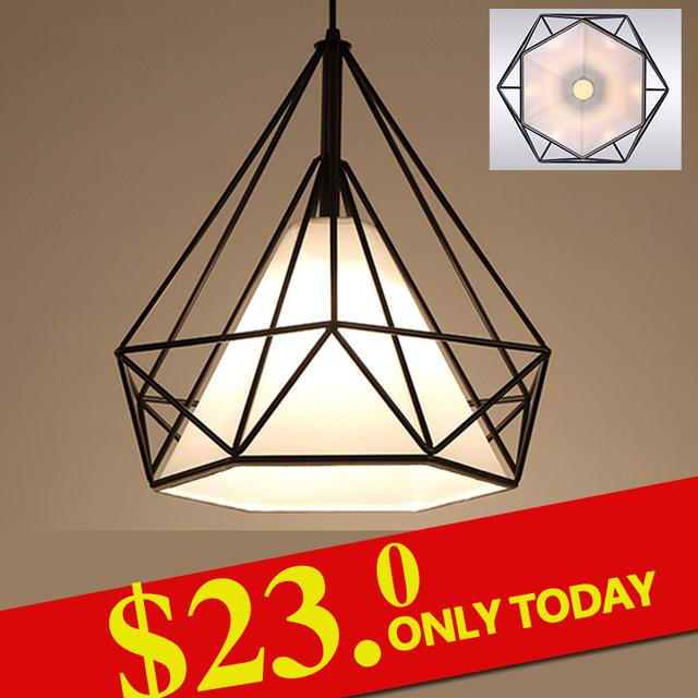 Современный черный клетка подвесные светильники железный минималистский ретро свет скандинавский чердак пирамиды лампы металлическую клетку с из светодиодов лампы