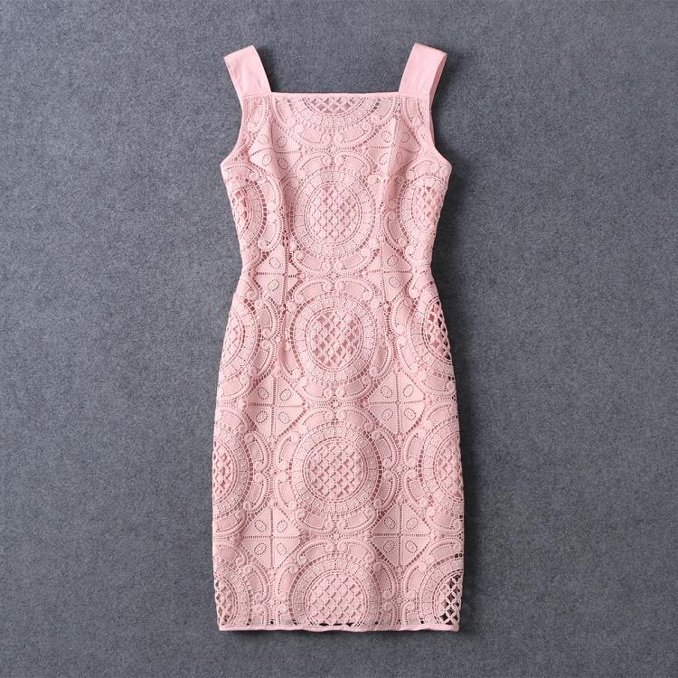 2016 New Fashion Summer Europe Women Flowers Crochet Lace Dresses Slim Sling dress Sexy sleeveless tight halter party dress(China (Mainland))