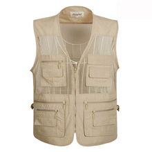 Free Shipping New Vest for Shooting Men Multi-pocket Photographer Vest Reporter Director Outdoor Army Military Style Vest XL-5XL(China (Mainland))