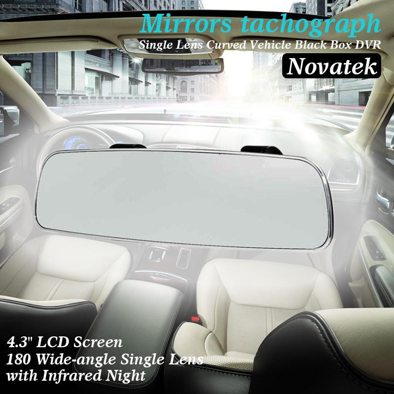 Novatek 4.3 inch mirror car camera recorder 180 Wide-angle display 1080p full hd car dvr(China (Mainland))