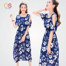 Sunshine Dress Off the Shoulder Sleeve Casual Beach Dress For Lady Women Dresses Floral Print Vestidos Robes
