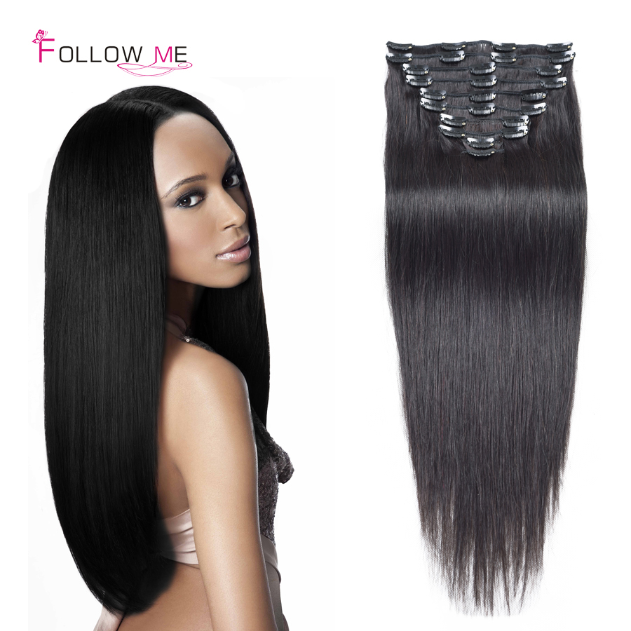 Clip In Human Hair Extensions African American 36