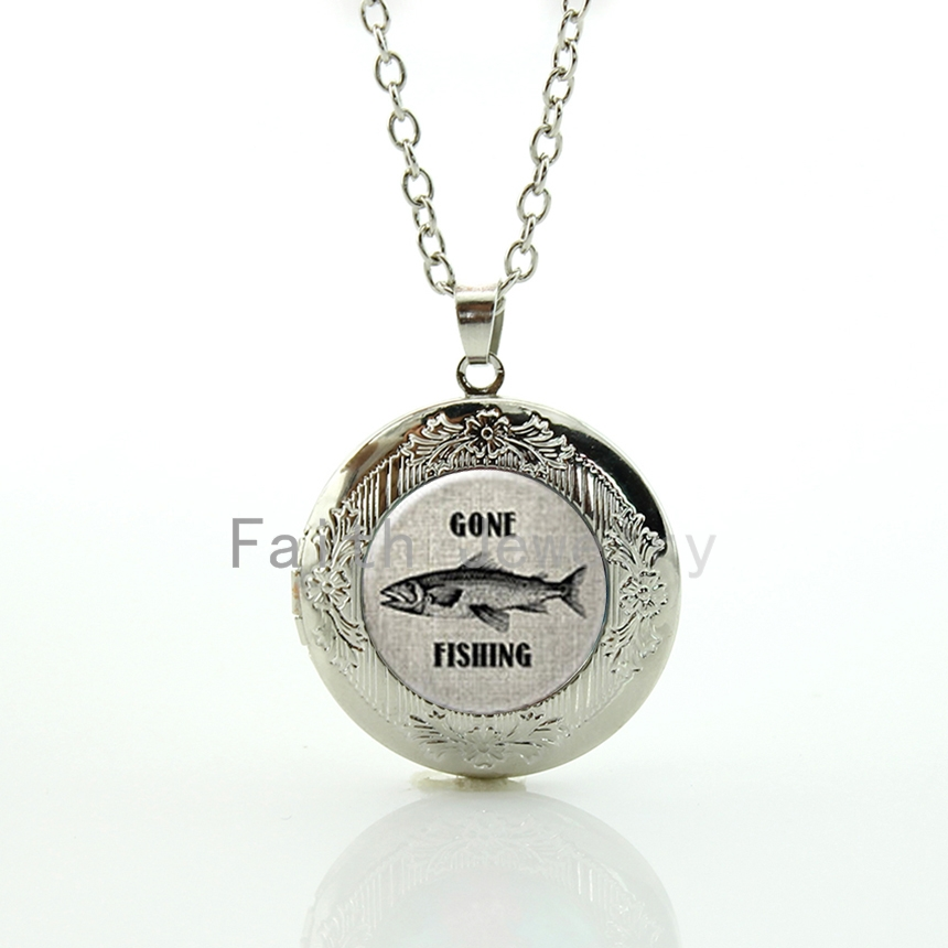 Vintage tone fish character picture pendant Gone Fishing locket necklace men accessory marine life charm jewelry HH305(China (Mainland))