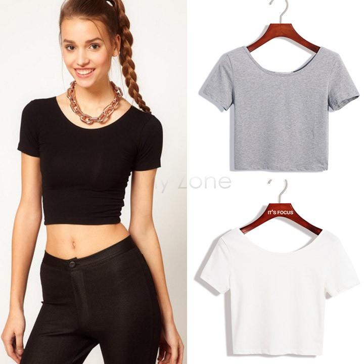 2015 New Women Best Sell U neck Sexy Crop Top Ladies Short Sleeve T Shirt Tee Short T-shirt Basic Stretch T-shirts b4 SV007416(China (Mainland))