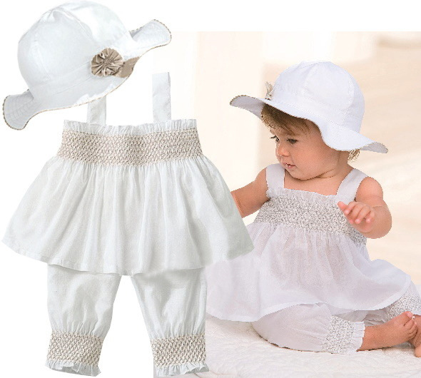 EMS DHL Free Shipping New Summer Style 3pc set Children Clothing White Baby Girls Outfit Hat+ Top + pants Baby Clothing SALES!!(China (Mainland))