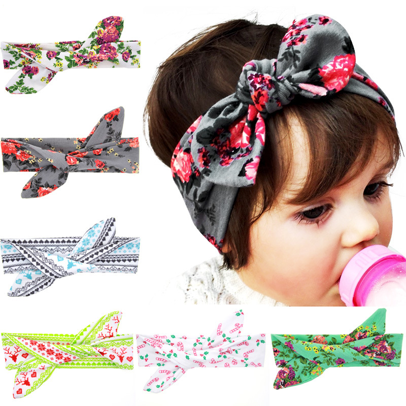 Newborn baby girl headbands cute kids baby girl twisted elastic bows headband Floral cotton turban Hair band candy headwrap 2016(China (Mainland))