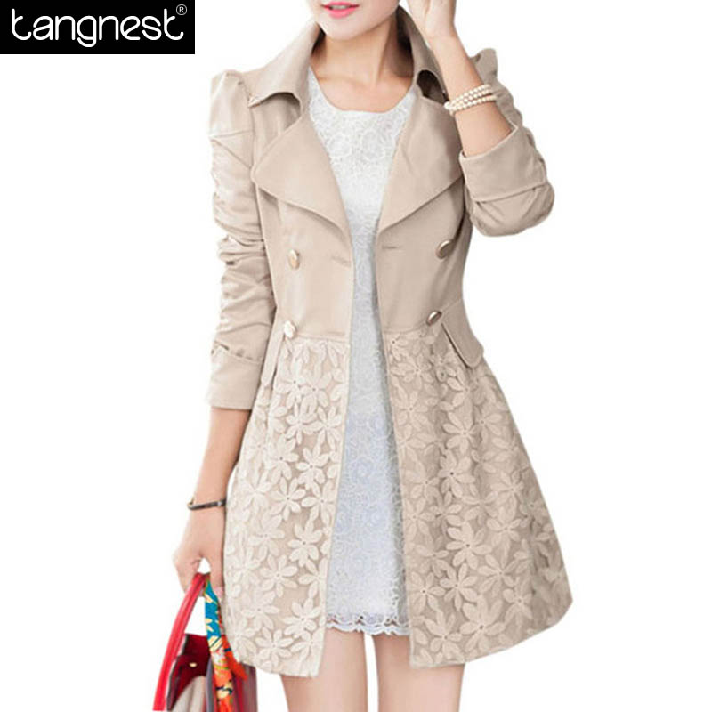 New Slim Trench Coat Women 2015 Autumn Winter Turn-down Collar Double Breasted Patchwork Long Lace Coats Casaco Feminino WWF131