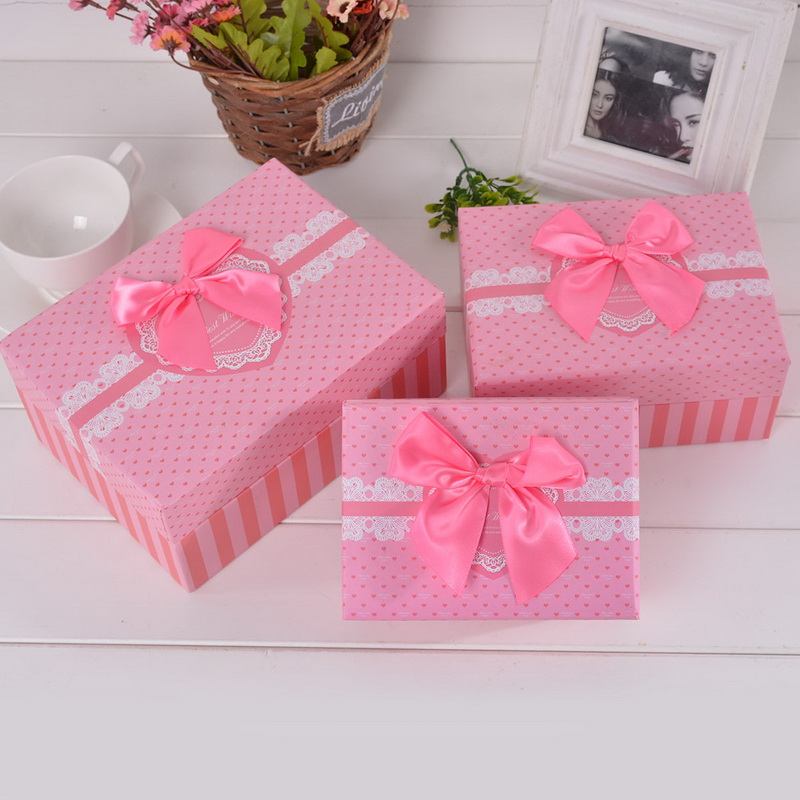 1Set (3PCs) Cuboid Gift Box Sweet Dots Lace Pattern Ribbon Bowknot Candy Storage 3 Different sizes Fit Wedding & Christmas Party(China (Mainland))
