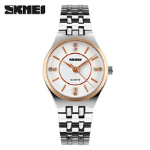 SKMEI Quartz Watch Fashion Casual Women Dress Watches Stainless Steel Super Slim Ladies Wristwatch Gold Clock Relojes Mujer 1133