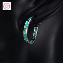 Classic Green Fire Opal Platinum Plated Hoop Earrings For Women S0028(China (Mainland))