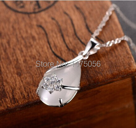 Opal 925 Sterling Silver Necklace Female Short Paragraph Clavicle Chain Pendant Silver Jewelry Birthday Gift Water Wave Chain<br><br>Aliexpress