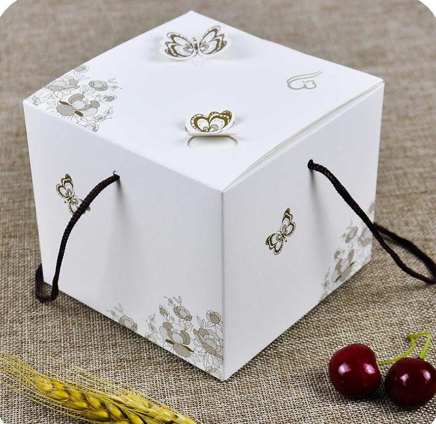 New Small Cake Box With Handle Butterfly White Kraft Design Gift Boxes Packaging Food Baby Shower Xmas gift Packing box(China (Mainland))
