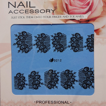 28 Designs Nail Art Wraps Water Transfers Decals Black Sheets D Series Free Shipping