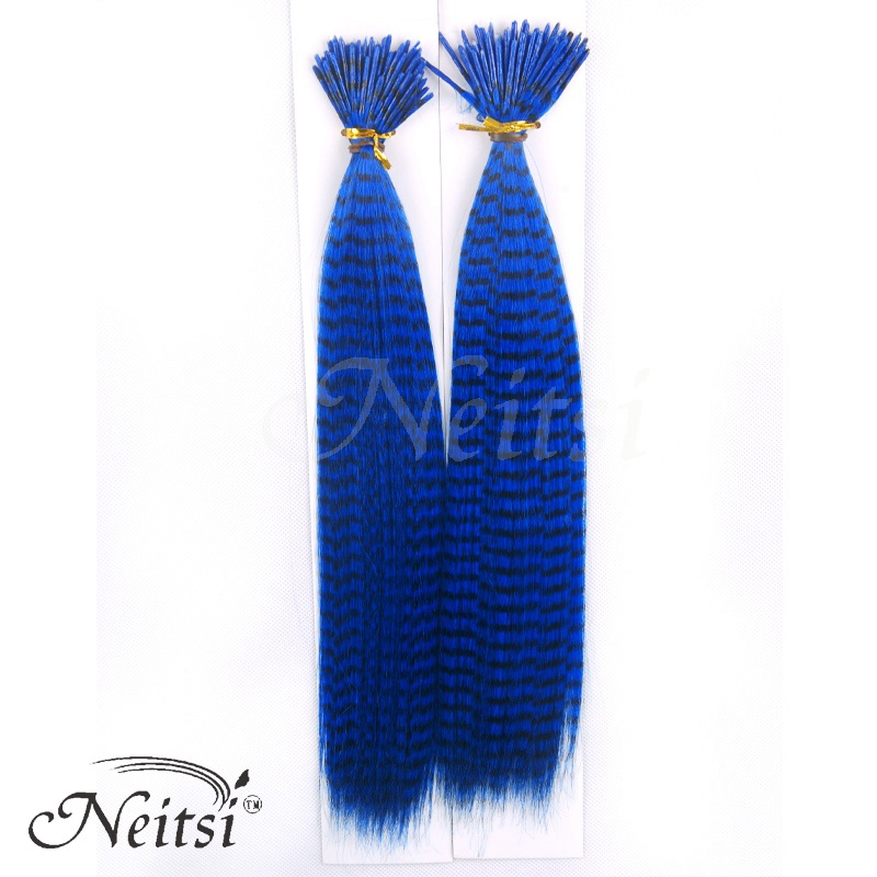 Neitsi 50 pcs/pack New Fashion GRIZZLY Zebra Lines Straight Feather Hair Extensions Vivid Color #P.Blue(China (Mainland))