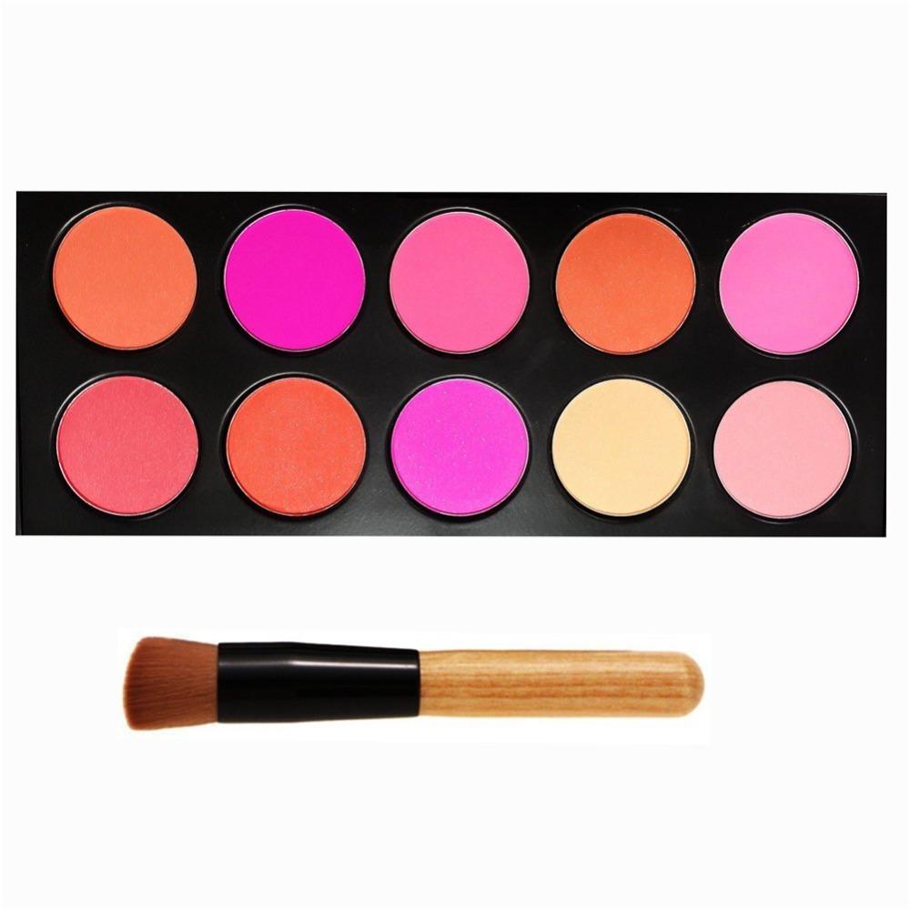 10 Color Makeup Cosmetic Blusher Powder Blush Palette Professional Makeup Face Blush+ Angled Contour Brush(China (Mainland))