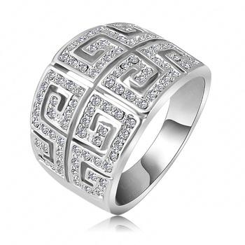 Lzeshine марка кольцо старинные ретро буква G кольцо 18 К розового золота SWA элементы ...