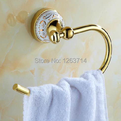 Free Shipping Brass Golden Finish Towel Ring,Bathroom Accessories Products Gold Towel Holder,Towel Rack HJ-1902K(China (Mainland))