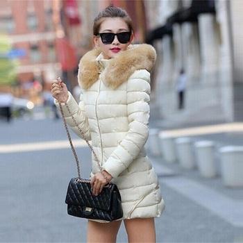 Пуховик длинная, женщины одежда зима пальто енот мех воротник тёплый пальто женщина верхняя одежда сгущает парки для
