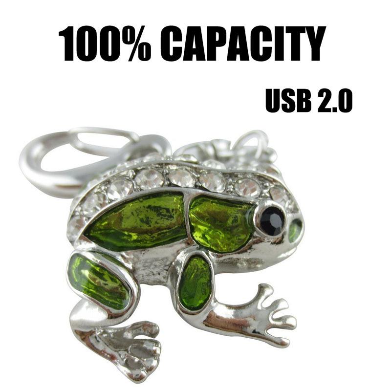 Free Shipping Cute Frog USB Flash Drive 32GB Diamond Pen Drive 16GB 8GB 4GB 2GB 128MB Pendrive Memory Sticj USB 2.0 U Disk(China (Mainland))