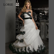 Gothic White And Black Wedding Dresses Mermaid 2016 Vestido De Noiva Sweetheart Lace Up Back Bridal Gowns With Detachable Sash(China (Mainland))