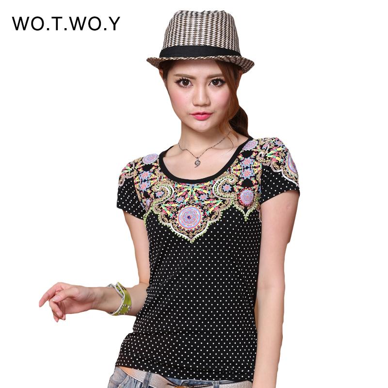 2016 Summer Kawaii Polka Dot Printed T-Shirt Women Beading Slim Cotton Graphic T-Shirt Women Harajuku Brand Tee Shirt Femme(China (Mainland))
