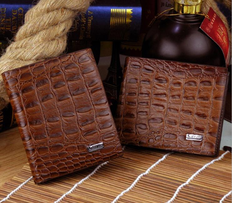 Brown Men Crocodile Wallet Carteira Genuine Leather purses billetero New Design ID Window brown wallet short fold wallets(China (Mainland))
