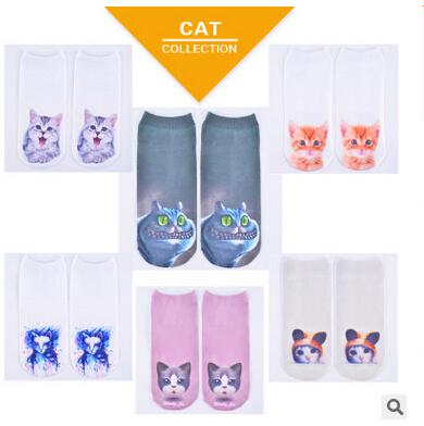 Harajuku стиль популярные мэн домашнее животное кошка 3D печать носки