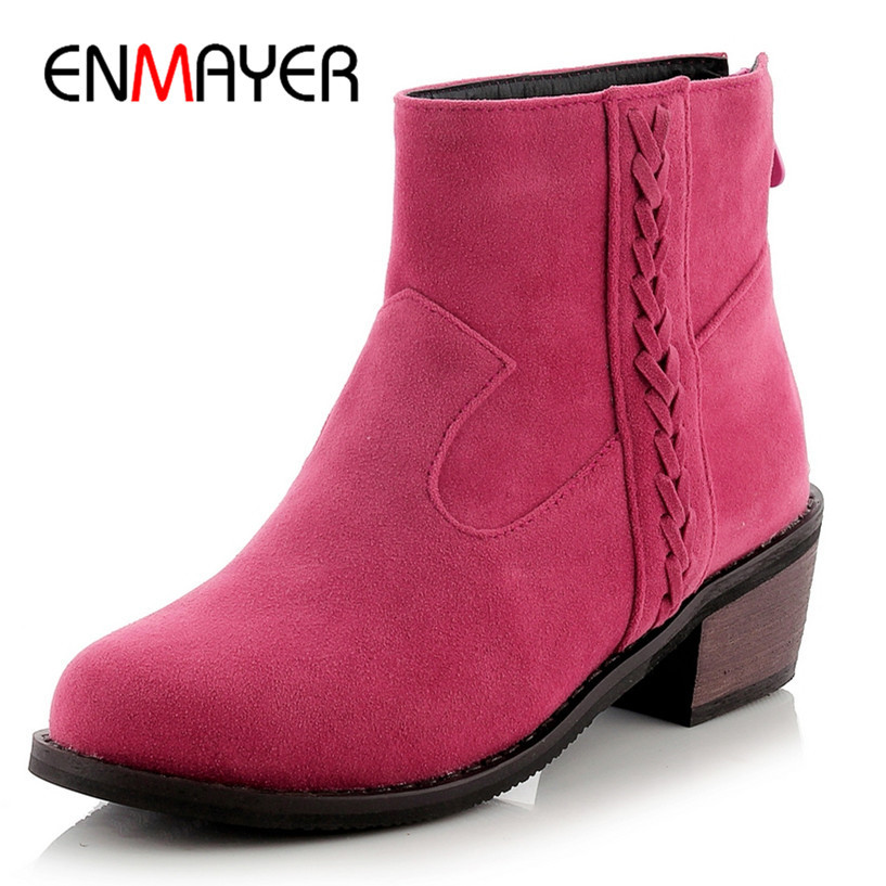 ENMAYER Ankle Boots For Women Shoes New Flock  Boots Square heel Fashion Round Toe Ankle  Boots Women Platform Fashion Shoes <br><br>Aliexpress