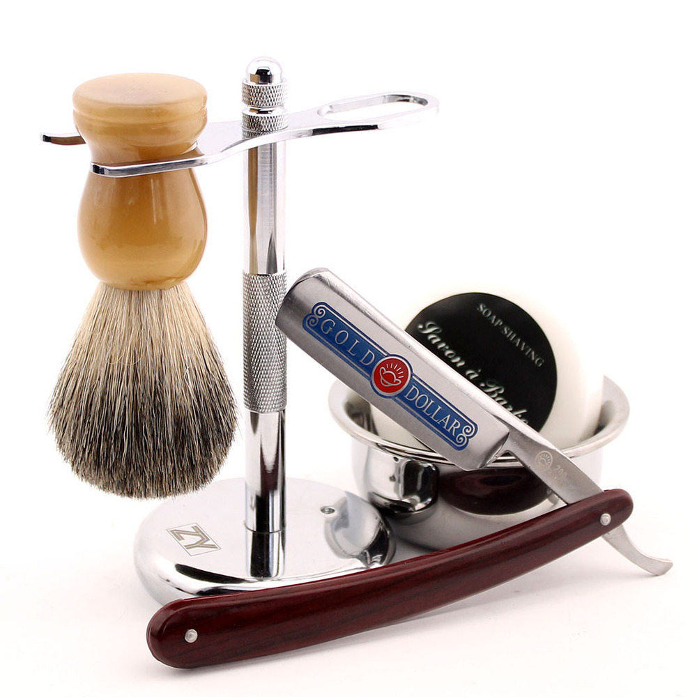 Straight Edge Steel Barber Razor Gold Dollar 200 Resin