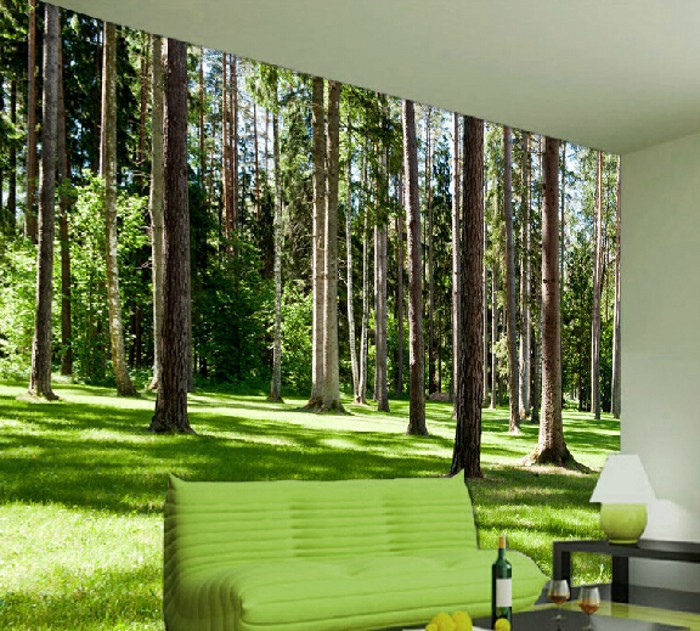 Large 3d forest mural living room bedroom tv restaurant for Decoration murale 1 wall