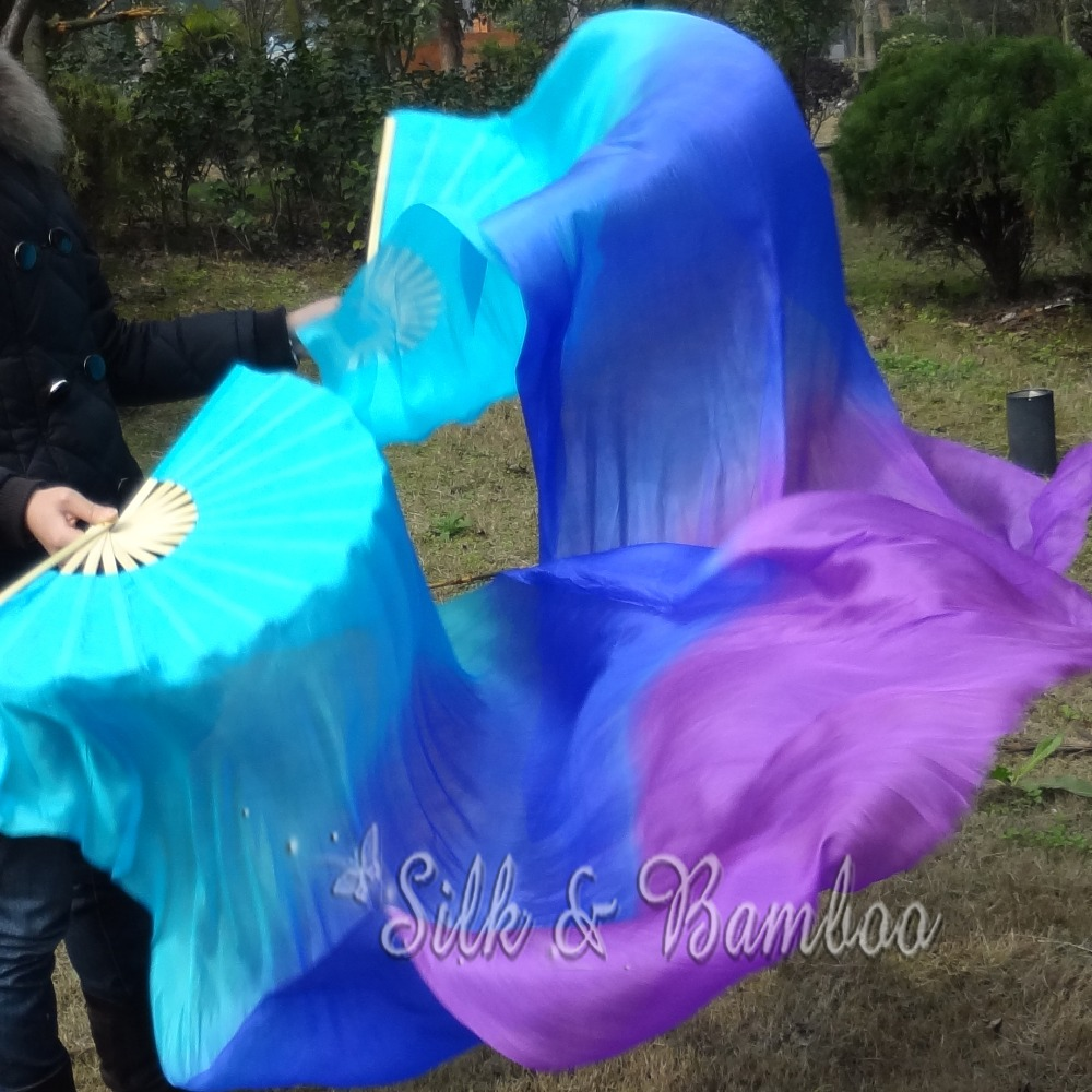 """turquoise-blue-purple, 1 pair(1pc right+1 pc left) 1.5m*0.9m(59""""*35"""") hand painted belly dance silk fan veil, real flowy silk(China (Mainland))"""