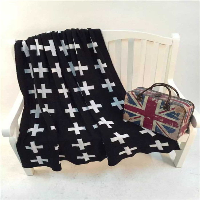 Crochet Blanket Black And White Black White Cross Blanket on