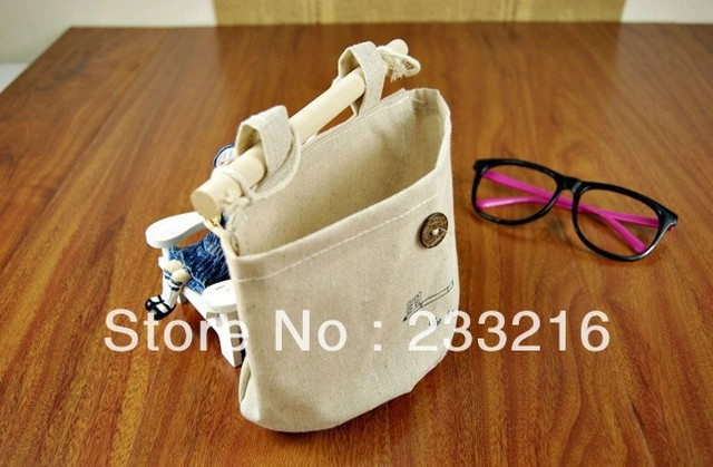 shipping free Pouch hanging bag nostalgia cotton bag natural creative home furnishing storage