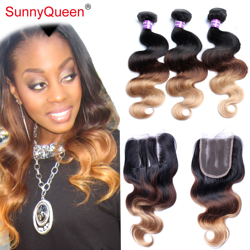 Фотография Ombre Brazilian Hair with Closure Sunny Queen Hair Products 6A Brazilian Body Wave with Closure Brazilian Hair with Closure