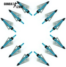 12 Pcs/lot Brand New Hunting Slingshot Arrowhead Aluminum Tips Steel Blades Blue Arrow Head for Shooting Compound Long Bow