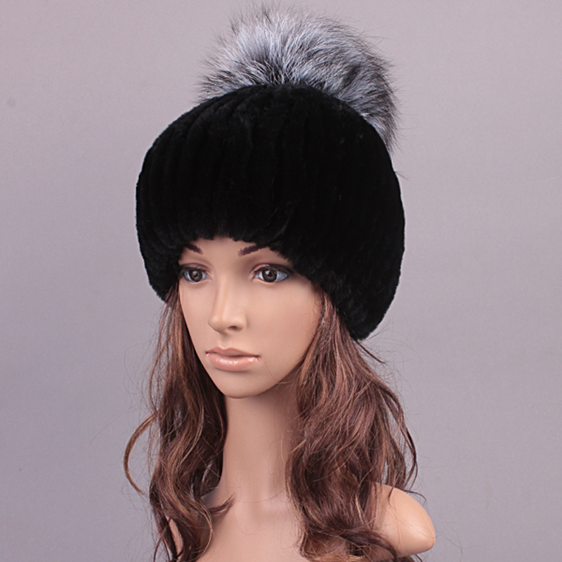 Winter Hat For Women Real Fur Cute Design Hat Girl Beanies Women Casual Caps Knitted Rex Rabbit Fur Fashion Russian Hat New 2016(China (Mainland))