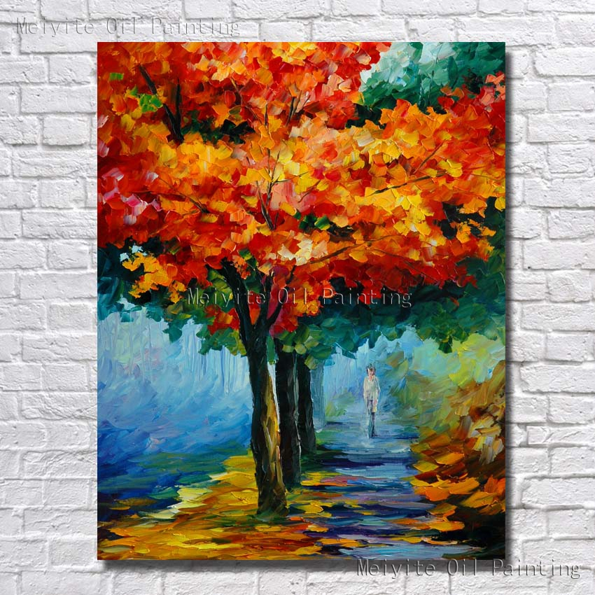 Fire red maple tree wall picture beautiful tree wall art hand painted oil painting in painting - A beautiful painting on wall ...