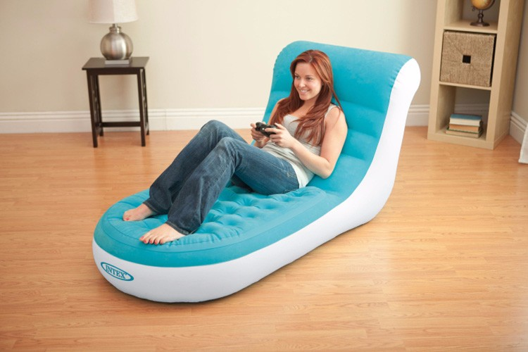 INTEX deluxe single flocking inflatable sofa  (with electric pump) Lazy sofa,Backrest reclining chair  1pc