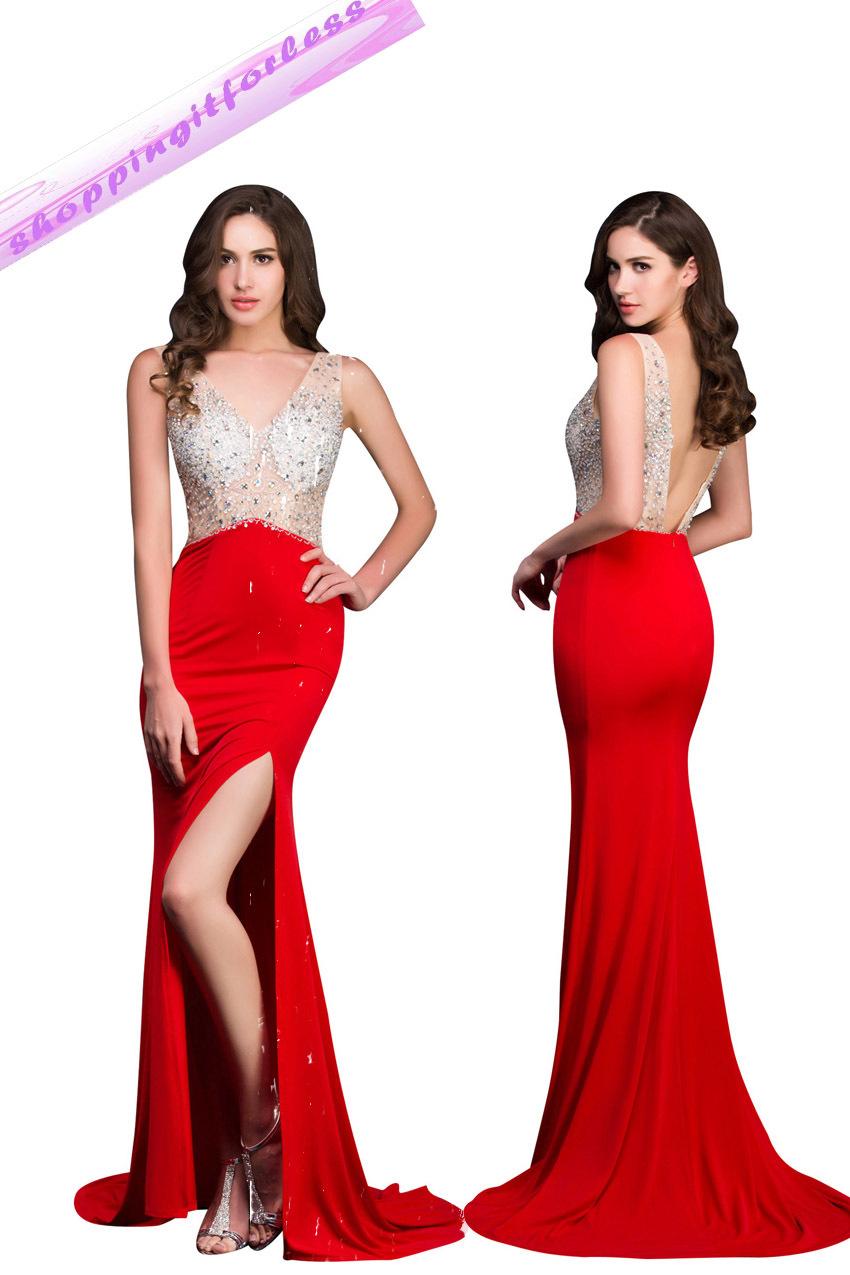 New Design Sexy Double Deep V-Neck Red Carpet Dress GK Elegant Robe De Soiree Formal Party Mermaid Evening Dress Vestidos(China (Mainland))