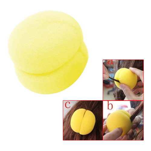 6Pcs Yellow Soft Sponge Ball Hair Styler Hair Care Curler Roller Tool for Lady,Free Shipping(China (Mainland))