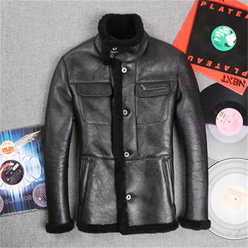 2015 European import new winter sheep superficial knowledge integrated Men  Slim Genuine Leather motorcycle jacket JSH577Одежда и ак�е��уары<br><br><br>Aliexpress