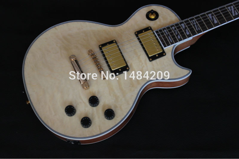 Wholesale electric guitar LP with quilt flame,Light Yellow burst finished, blue binding with gold hardware(China (Mainland))