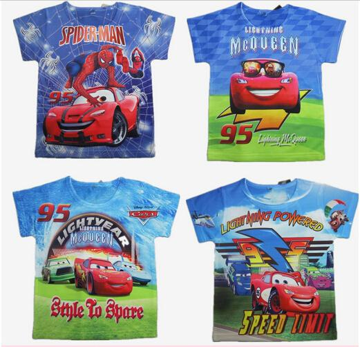 New 2015 boys Summer Sports Car t shirt kids baby spiderman t shirts children clothing roupas