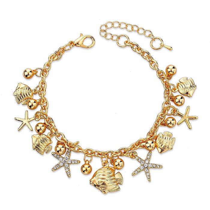 2015 Gold Filled Chain Bracelet Fashion Bracelets For Women Full Crystal Fish Charm Braclets Bangles Luxury Jewelry SBR150176(China (Mainland))