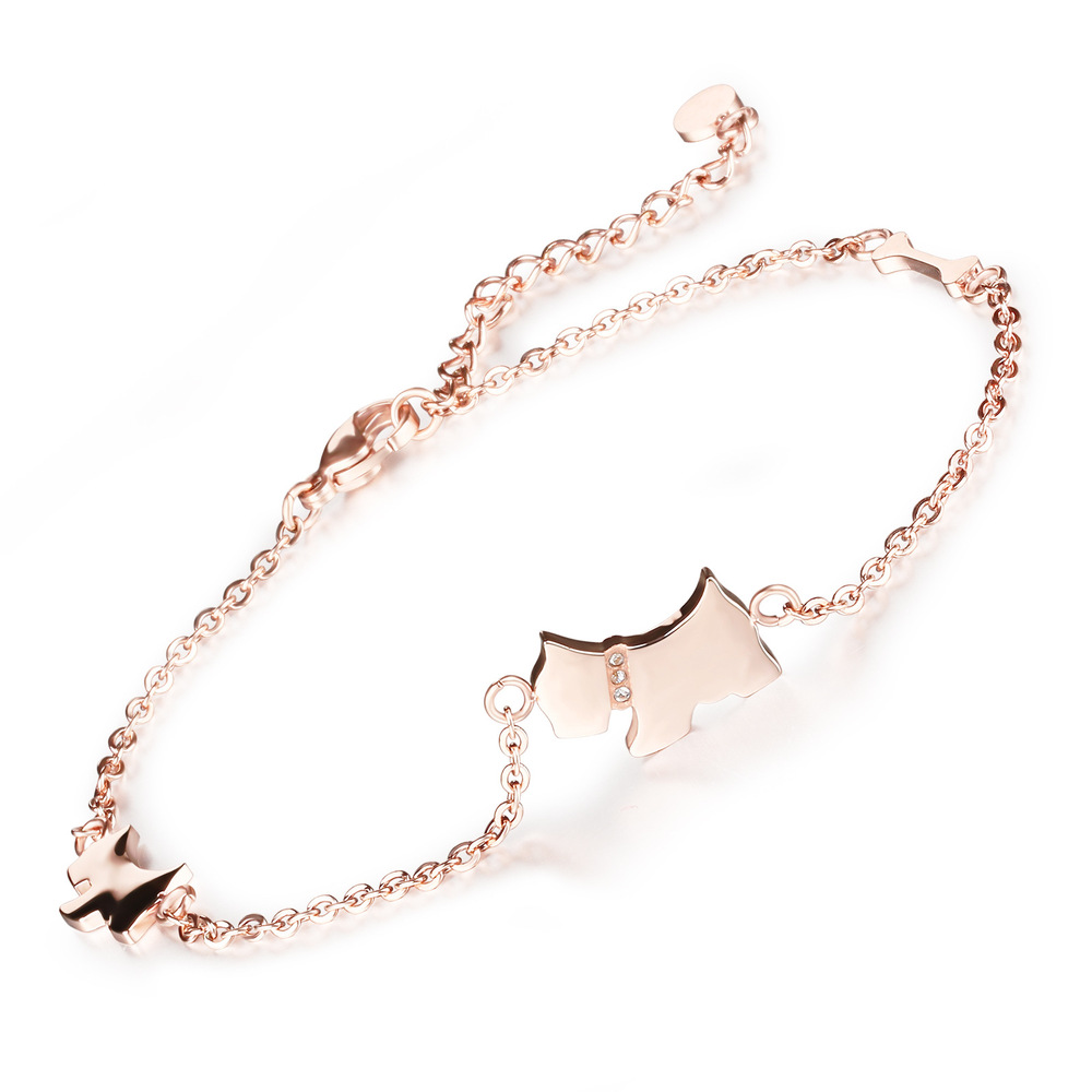 Supply of new bone jewelry cute puppy foot chain to send his girlfriend titanium steel rose gold plated anklet GZ011(China (Mainland))
