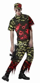 Оптовая продажа - горячая распродажа Новый стиль хэллоуин косплей костюм ну вечеринку одежда для взрослого человека трикотажные solider костюм с hat красный