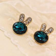 Crystal Cubic Zirconia Rabbit Stud Earrings For Women Girls Fashion Female Gold Rhinestone Ear Jewelry Accessory Pendientes(China (Mainland))