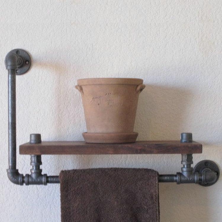 american wood iron pipe racks wall mounted bathroom shelf rack towel rack retro soap holder in. Black Bedroom Furniture Sets. Home Design Ideas